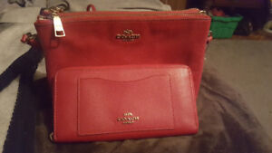 BNWT Red authentic Coach purse and wallet
