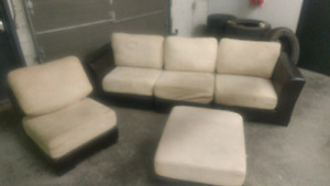 Leather/suede sectional couch