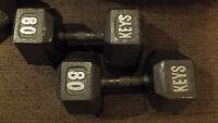 2 x 80 livres haltères / 80 pounds dumbbells pair