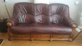3 + 1 oak frame leather sofas