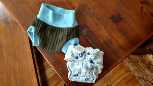 Fitted cloth diaper and wool soaker