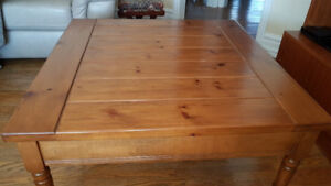 Square solid wood coffee table