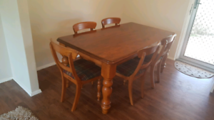 Antique wood dining table & chairs