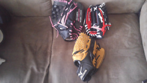 Kids and youth baseball gloves