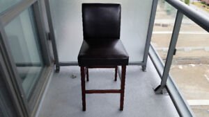 """4 Brand New """"Still in the Box"""" Brown Leather Barstools"""