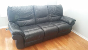 Cowhide leather couch w/ recliners