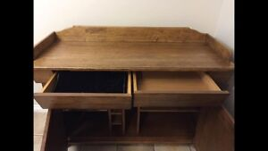 Oak table and hutch