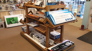 Retail display stands on wheels