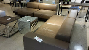 BRAND NEW Genuine leather sofas +built-in walnut end tables