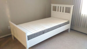 Nearly New - Ikea White Hemnes Complete Single Bed + delivery