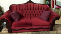 3 piece red sofa set