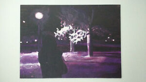 Shadow in the moonlight original painting on canvas (unframed) West Island Greater Montréal image 1