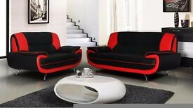BIG SALE! TOP QUALITY!! Brand New Looks! 3 AND 2 SEATER SOFA in black and red, GREY AND WHITE