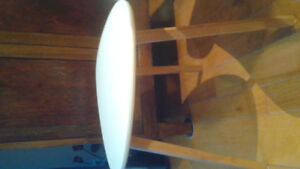 Pure white midcentury pair of chairs with matching table