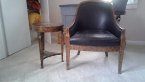 Leather chair and table