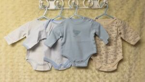 4 Baby Boy Onesies Long Sleeve Excellent Size 0-3 Mths