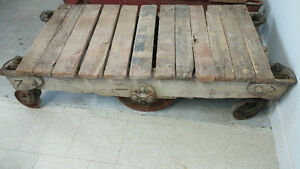 Antique industrial wooden foundry cart Cambridge Kitchener Area image 2