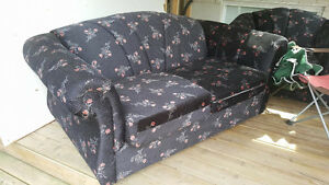 Beautiful Floral Navy Loveseat and Single