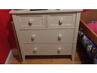 Set of white next heart chest of drawers, excellent condition