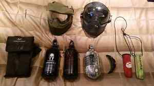 Variety of paintball gear