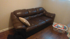 Loveseat and couch black and a brown couch and loveseat leather Regina Regina Area image 3