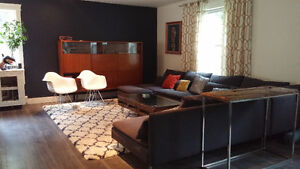 Mid-century modern design grey sectional couch sofa