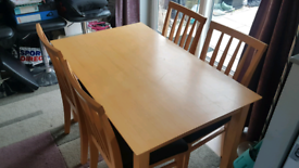 FREE Beachwood affect dining table and 4 chairs.