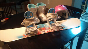 Kids SnowBoard and Boots and Helmet for Sale