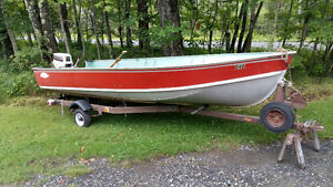 Lund aluminum boat with 20 horsepower  great condition