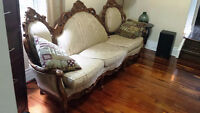 VINTAGE COACH AND ARMCHAIR SET FOR SALE