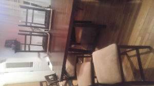 Great condition pub dining table with 6 chairs, microfibre type