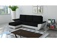 Brand New Corner Sofa Bed BLACK AND WHITE With Storage Free Delivery