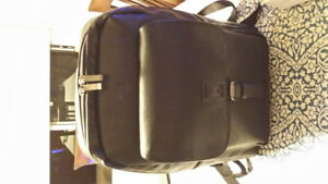 KENNETH COLE BLACK LEATHER KNAPSACK - BRAND NEW