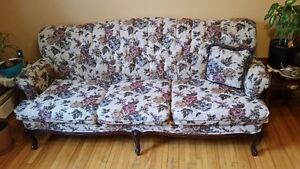 French Provinical Couch, Chair, Coffee table and End Tables