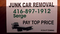 Scrap cars WANTED in GTA. 416 897 1912 Serge. We pay TOP cash.
