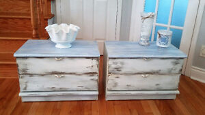 Beach style side tables, set of two