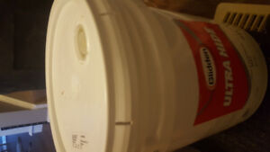 5 gallon bucket of paint flat white and grey