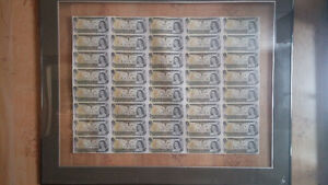 Canadian One Dollar Bills,Uncut Sheet 40