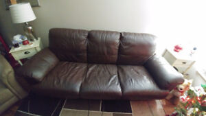 Beautiful chocolate brown leather couch for sale