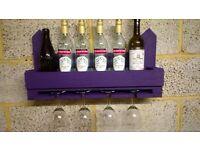 Rustic Wine Bottle & Glass Rack / Holder
