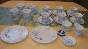 """21 pcs assorted Queens fine bone china dishes- """"Seagull"""" pattern"""