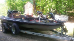 18 Foot Ranger Bass Boat with Trailer and 150 Mercury motor