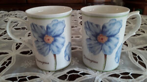 FINE BONE CHINA MUGS, BLUE FLOWERS, ENGLAND