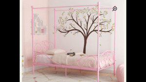 Brand new in box Pink twin canopy bedframe