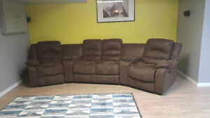 Brown theatre style couch