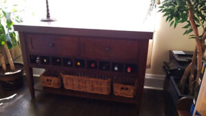 Solid Dark-Wood Hutch / Buffet Table with Wine Rack