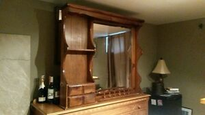 Solid Pine Bar or Cabinet Topper with Mirror