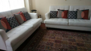 GOOD CONDITION FAUX LEATHER SOFAS (SET OF 2) FOR SALE