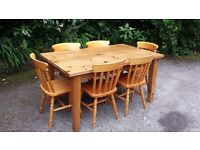 5FT SOLID PINE TABLE 6 CHAIRS CAN DELIVER