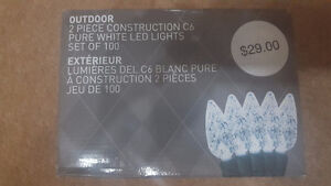 New C6 Pure White LED set of 100 Christmas lights